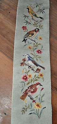 Antique German tapestry wall hanging of European BIRDS brass ends embroidery