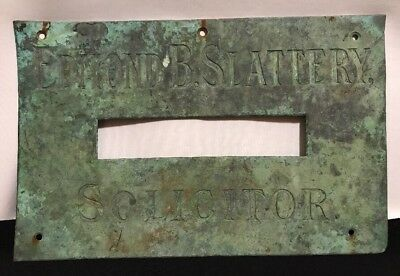 "Antique Brass Open Letter Mail Slot Plate 14"" x 9"" Edmond B Slatterty Solicitor"