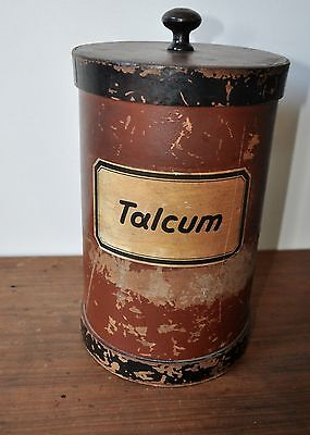 Large Antique German 1920's TALCUM powder canister Apothecary pharmacy card wood