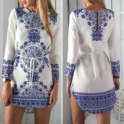 Vintage Chinese Style Blue And White Porcelain One-piece Dress Flower Blouse