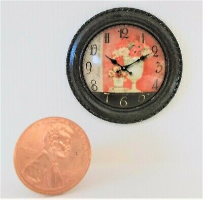 NEW! DOLLHOUSE MINIATURE~ART DECO ANTIQUED BLACK HAND DESIGNED WALL CLOCK Reg$25