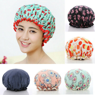 Women Shower Caps Waterproof Elastic Bathing Hair Cover Head Cap Hat Household
