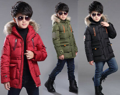 Winter Kids Boys Long Down Coat Padded Fur Hooded Jacket Warm parka Quilted Gift