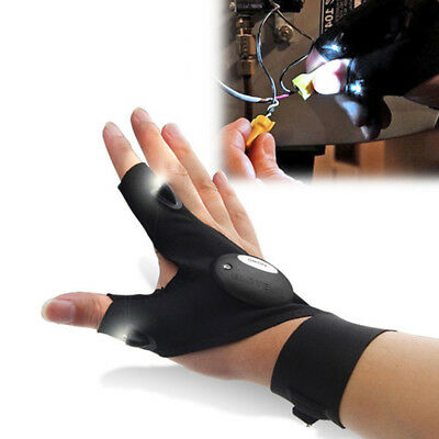 1x Men Women LED Outdoor Camp Fish Repair Car Bike Work Glove Night 3 Cut Finger