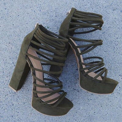 New Army Green Caged Thick Heel High Heels Zip Strappy Open Toe Gladiator Sandal