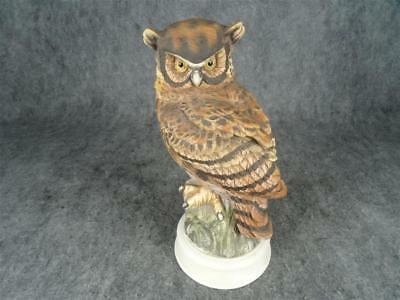 "Vintage Great Horned Owl 12"" Hand Painted Porcelain By Andrea"