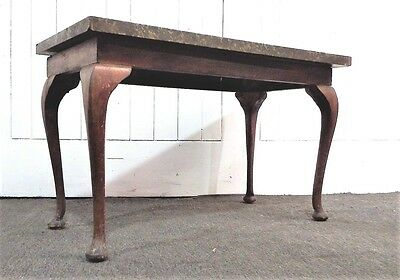 Antique style Queen Anne marble top side table /  coffee table