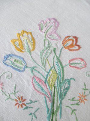 "VINTAGE TABLECLOTH HAND EMBROIDERED with TULIPS - 48""sq."