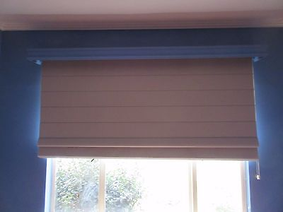 ROMAN BLIND - BEIGE TEXTURED FABRIC, FULL BLOCK OUT, RIGHT PULL , 2150w ,43h