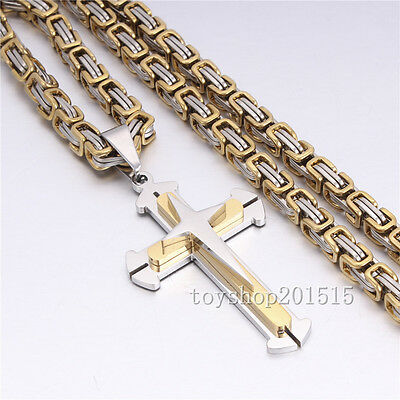 Gold Silver Men Chain Cross Byzantine Stainless Steel Pendant Chain Necklace 22'
