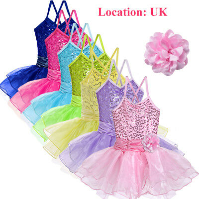 UK Warehouse Girls Flower Sequin Sleeveless Leotard Ballet Tutu Dance Costume