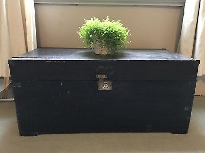 Vintage 20s 30s WOODEN TRUNK CHEST Glory Blanket Box BLACK PAINTED WOOD antique