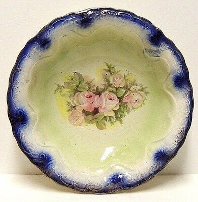 Antique Blue Green Bowl w/ Pink Roses Flowers w/ Gold Trim - Beautiful Dish