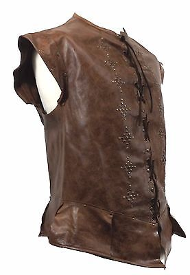 Brown Distressed Leather Studded Jerkin Handmade LARP Ranger MADE TO ORDER
