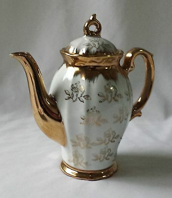 Stunning Vintage C1970's 4 Cup White Porcelain Gold Gilt Coffee Pot - Japan