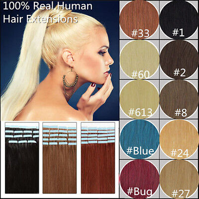 """16""""20""""24"""" Promotion 20/40pcs Tape in Remy Human Hair Extensions Virgin PU Skin"""