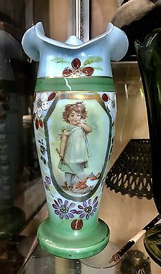 Antique Victorian Blue Milk Glass Vase Bohemian? Gold Gilt Floral Girl 1800s