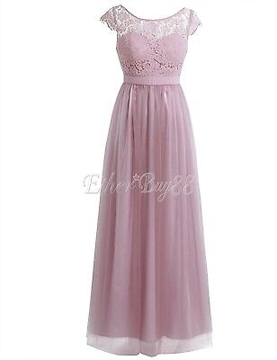 Women Chiffon Bridesmaid Evening Party Prom Ball Gown Maxi Lace Cocktail Dress