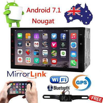 7'' Android 7.1 Car GPS Navi Stereo Player Head Unit 4G Wifi BT OBD2+Free Camera