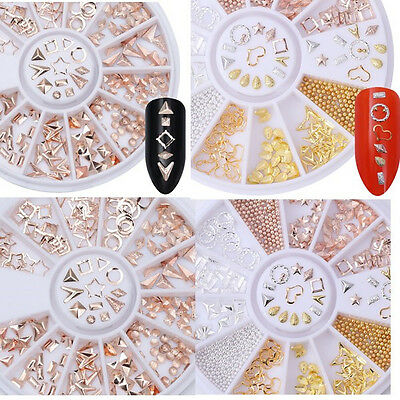 2X Rose Gold Rivet Studs Star Square Teardrop  Mixed 3D Nail Decoration