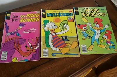 Lot of 3 Whitman Comic Books- Road Runner, Uncle Scrooge, Woody Woodpecker
