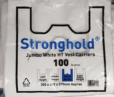 Pack of 100 White Stronghold Jumbo Plastic Vest Carrier Bags 12x19x23""