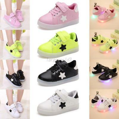 LED Light Up Kid Baby Flash Shoes Sneakers Toddler Boy Girl Luminous Trainers AU