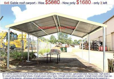 steel carport, new heavy duty  double 6 x 6  gable carport
