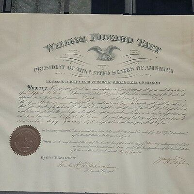 President  William H. Taft signed  Postmaster Appointment to Clifford Cox