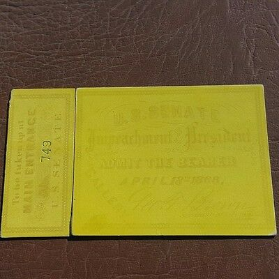 "President Andrew Johnson Tickets for  Impeachment ""Rare very light yellow"