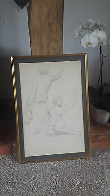 Framed Set of 4 Original Life Drawings (c1930's)
