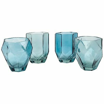 Set of 4 Blue Glass Tea Light Candle Holders Contemporary Geometric Teal