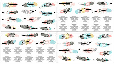 Sweet Jojo Feather Collection Bedding Wall Art Decal Stickers Kids Room Decor