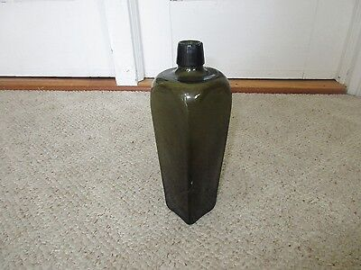 Antique Early 19th C Olive Green Glass Liquor Gin Bottle w/ Pontil 9 1/8""