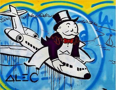 Alec Monopoly oil painting on Canvas urban art decor Riding Airplane 28x36""