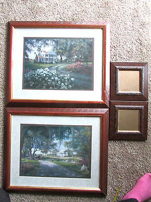 2 HOME INTERIOR   HOMCO PLANTATION Farmhouse PICTURES Wood Frame