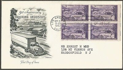Us Fdc 1953 50Th Anniversary Of The Trucking Industry 3C First Day Cover La