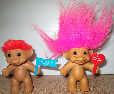 Vintage Russ Troll Doll Love You This Much Very Special Sign Holder Trolls
