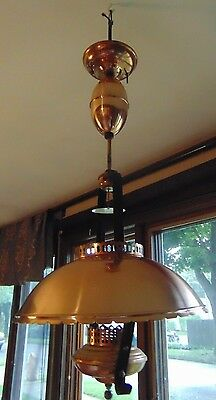 mid century Copper Pull Down Hanging Ceiling Light Hurricane Chandelier shade