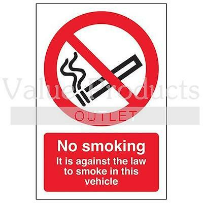 Vsafety Self Adhesive - No Smoking/Against The Law In This Vehicle Sign