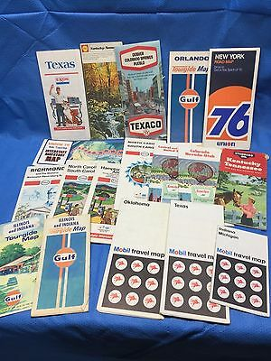 1960-70s Standard Sinclair Mobil Esso 76 Gas Station US Highway Maps Lot of 19