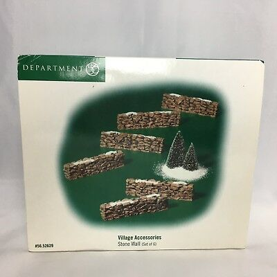 Christmas Stone Wall Dept 56 Set of 6 In Box Snow Village Accessory #52629
