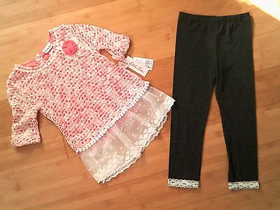 NWT Girls Size 10 / 12 Little Lass Outfit - Sweater Top & Lace Trim Leggings NEW