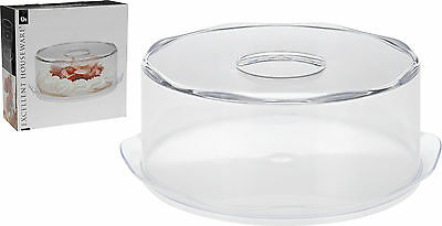 Large 35cm Clear Plastic Serving Cake Dome Pastry Plate with Lid + Handle