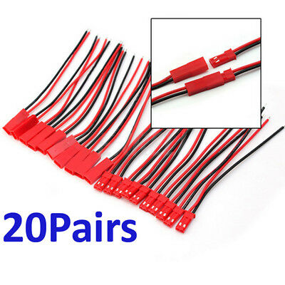 20 x 2-PIN JST SM Male & Female Connector Wire Cable for Single Color LED Strip
