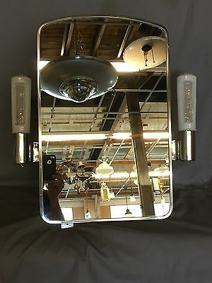 Vtg Mid Century Art Deco Medicine Cabinet Chrome Sconce Glass Shades 570-17E