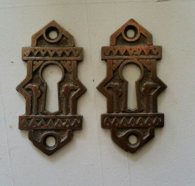 Pr Decorative Antique Victorian Key Hole Covers  Cast Iron Original Finish (426)