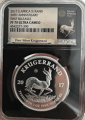2017 KRUGERRAND SILVER PROOF NGC PF70 FR 50th ANNIVERSARY ULTRA CAMEO ~LOW COA~