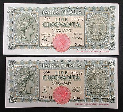 (2x) ITALY Paper Money * 50 Lire * 1944 * KM:74 * EXCELLENT CONDITION!