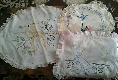3 Vintage Hand Embroidered Boudoir Pillowcases 1920's Flapper Era